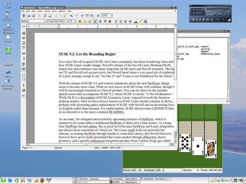 Figure 2: The KDE Desktop in SUSE 9.2
