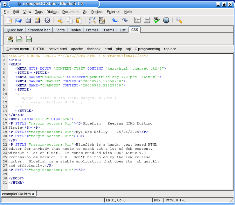 Figure 1: HTML code snippet from OpenOffice.org