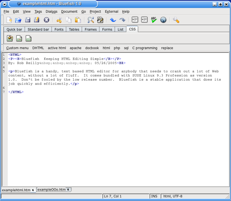 Figure 2: HTML code snippet from Bluefish