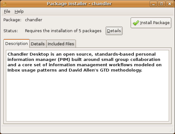 Figure 1: Package Installer for Chandler Desktop