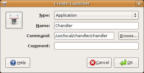 Figure 2: You'll need to create your own desktop launcher for Chandler