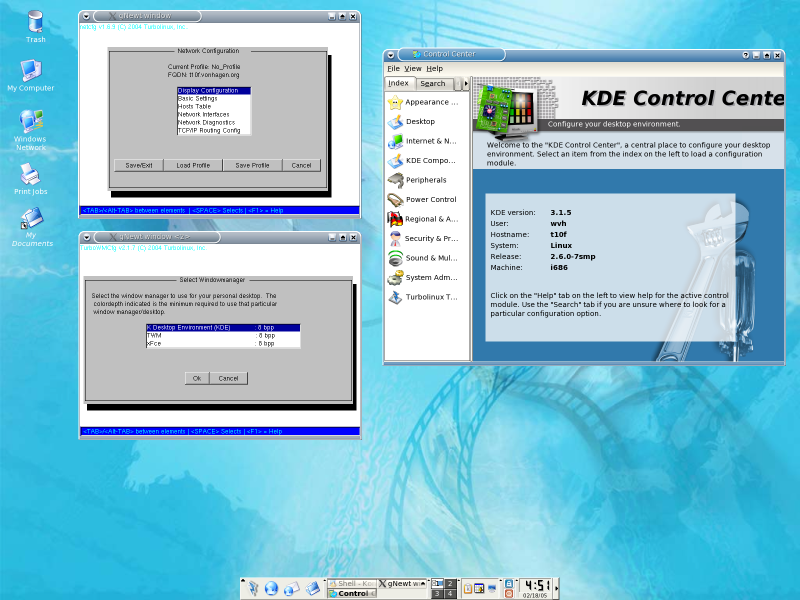 Figure 1: KDE Control Center and Turbolinux Configuration Utilities