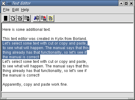 A basic, working text editor.  Created with Kylix.