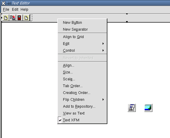 The toolbar of our project.