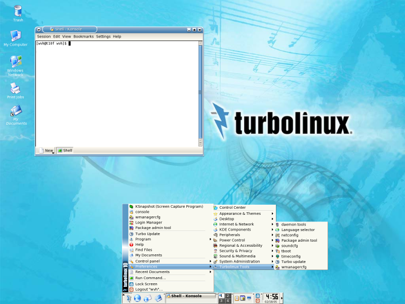 Figure 3: The Default Turbolinux Desktop and Menu hierarchy