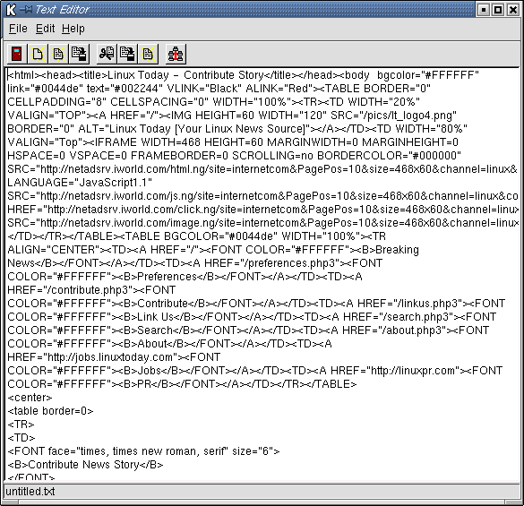The finished product: LinuxToday's HTML as retrieved by our project.