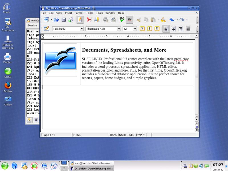 Figure 4: Default SUSE 9.3 KDE Desktop and Theme