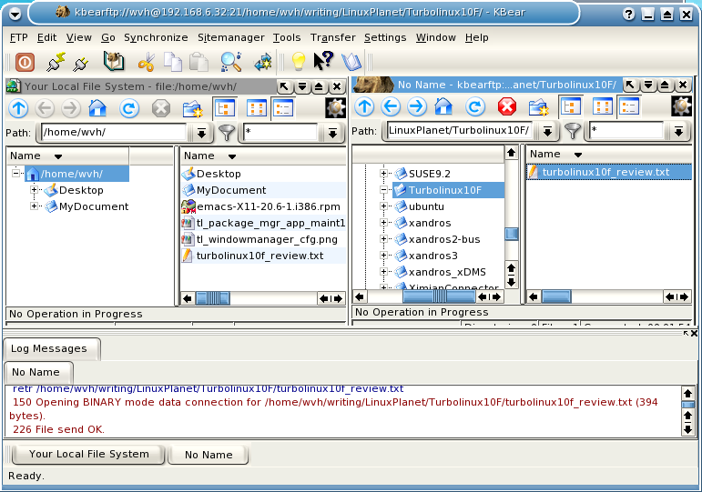 Figure 4: The kbear FTP Client