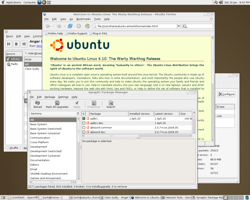 Figure 4: Ubuntu 4.10 (Warty) desktop with sample open applications.