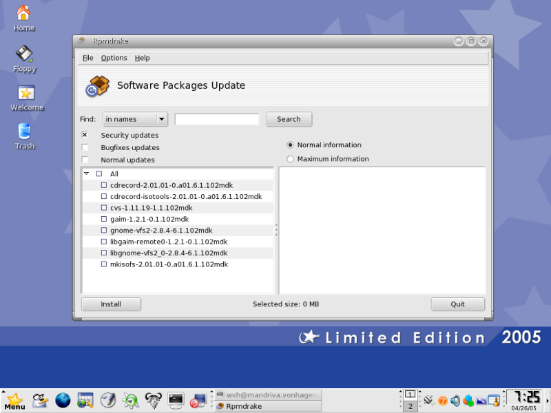 Figure 5: Mandriva's Online Package Update Tool