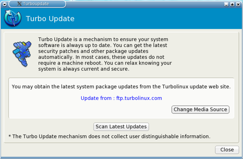 Figure 7: The Turboupdate System Update Utility