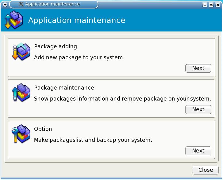 Figure 8: The Application Maintenance Utility