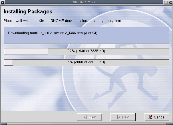 The installer keeps users up to date with the progress of the downloads.