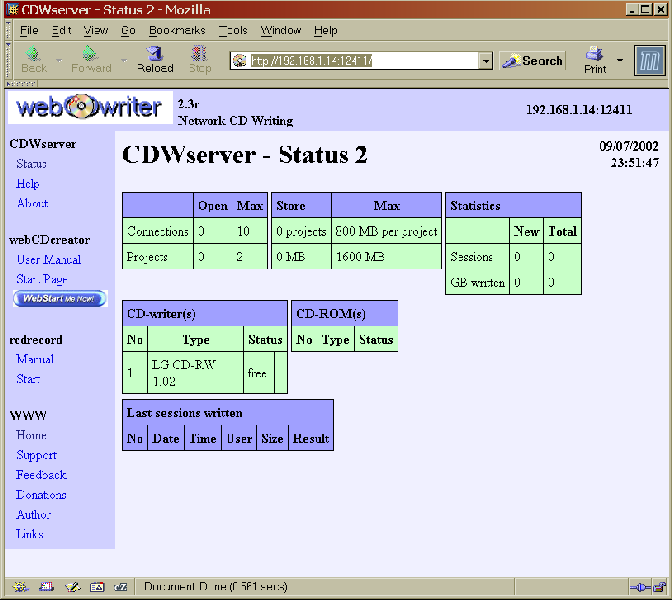 Figure 1. The CDWserver web page from my Linux CD burning machine, in Mozilla, on a Microsoft Windows 2000 Professional box.