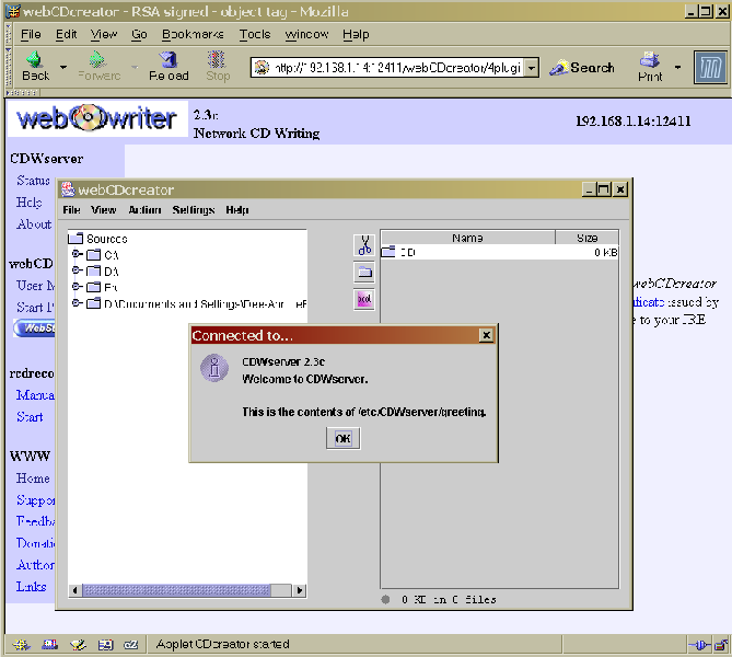 Figure 3. The webCDcreator greeting.