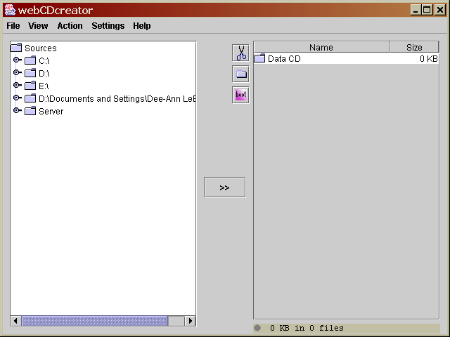Figure 5. The main webCDcreator dialog.