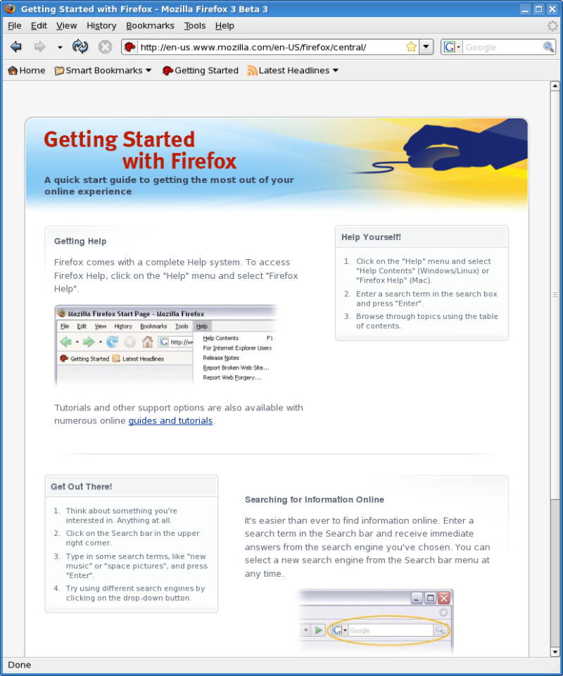 Figure 1: The Firefox 3 Beta 3 Browser