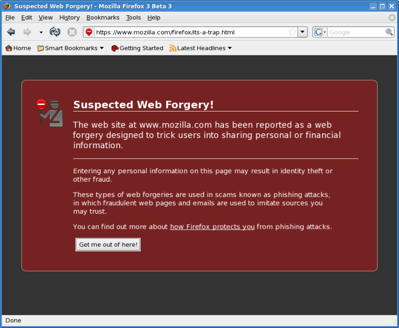 Figure 5: Web Forgery Warning