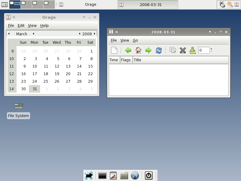 Figure 5:Orage Calendar and the New Event Window