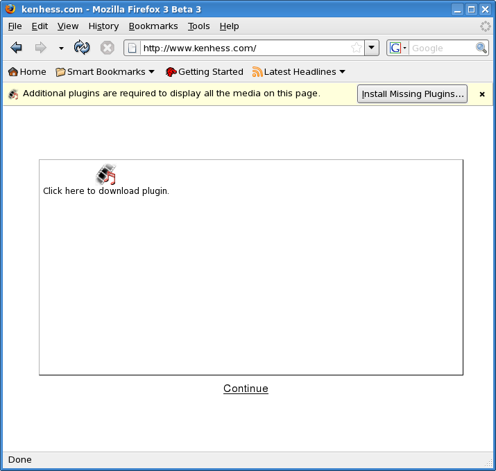 Figure 6: Missing Flash Plugin Prompt