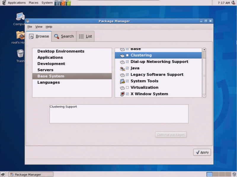 Figure 2: The Package Manager Allows You to Configure Your System