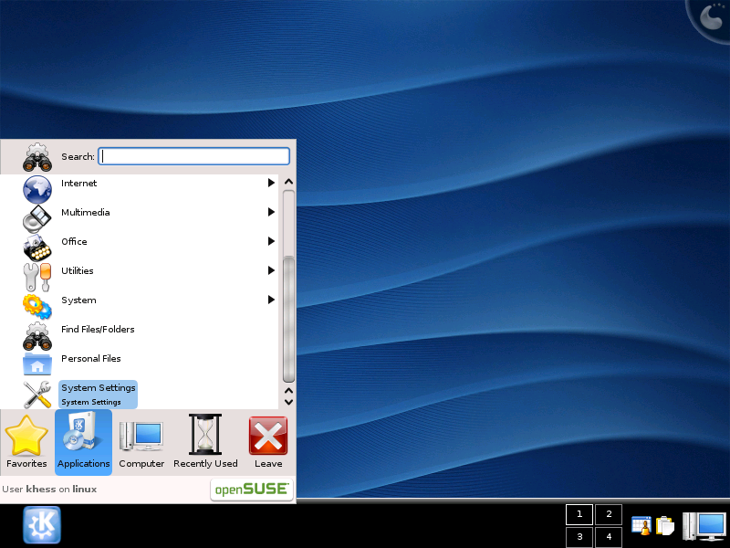 Figure 1: Kicker: The New KDE 4 Application Launcher