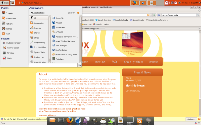 Figure 4: The Finished Desktop With SLED Menu