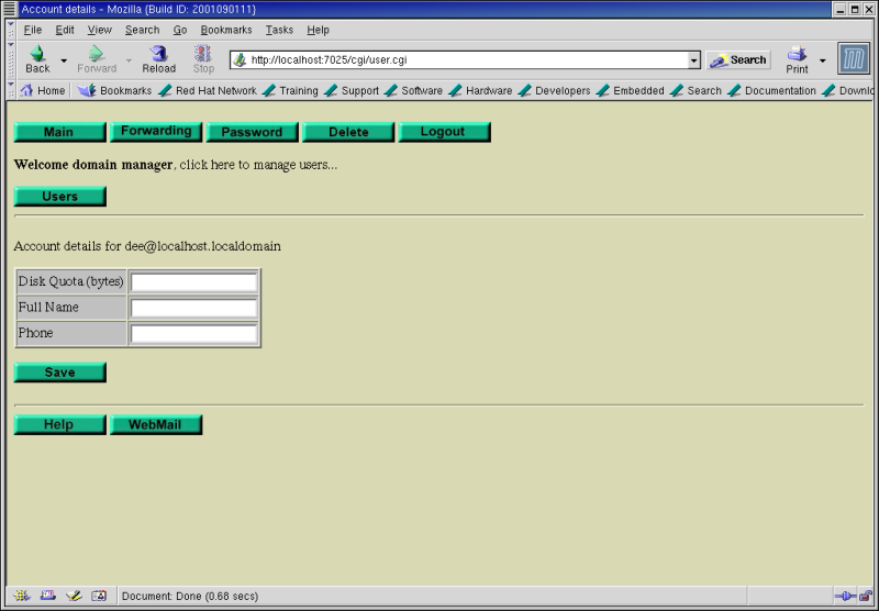 Figure 10: The SurgeMail 1.0 User Account self-management main page.