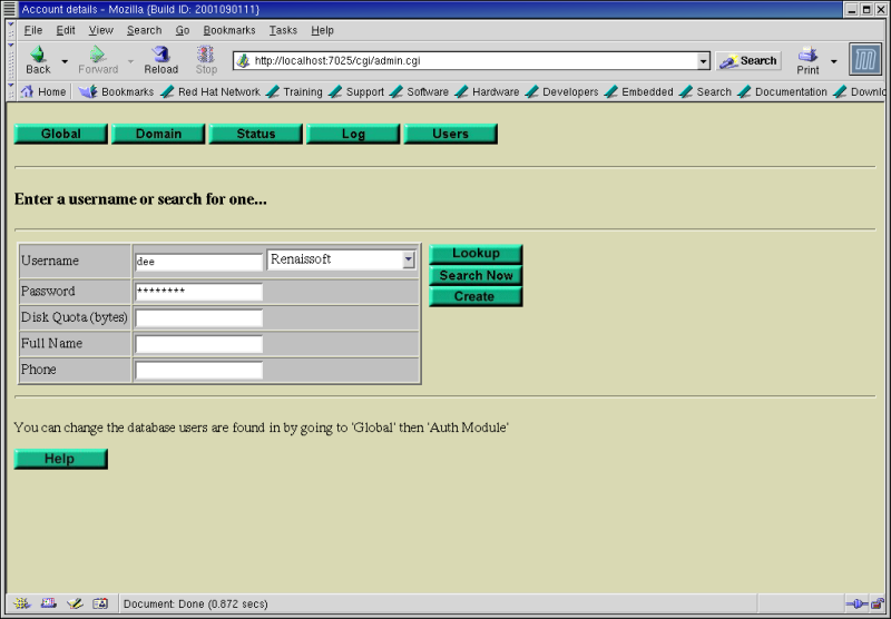 Figure 6: The SurgeMail 1.0 Users page.