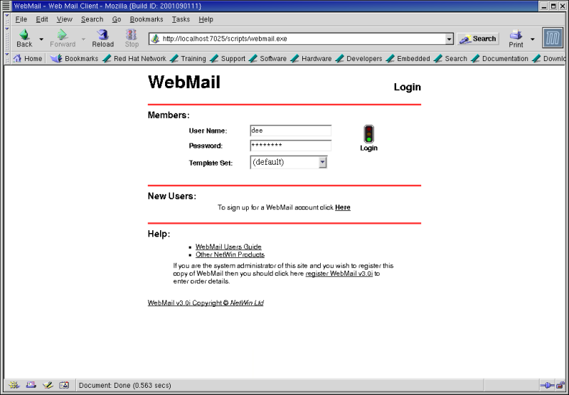 Figure 7: The SurgeMail 1.0 Webmail login.