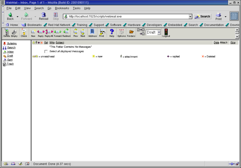 Figure 8: The SurgeMail 1.0 Webmail interface.