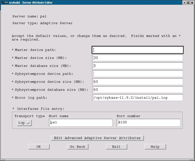 Figure 2. The Server Attribute Editor.