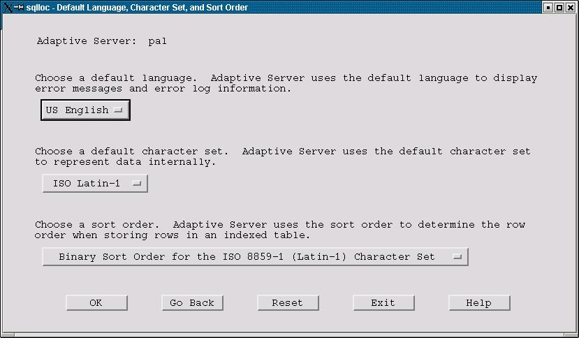 Figure 5. The Default Language, Character Set, and Sort Order dialog.