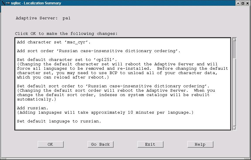 Figure 6. The Localization Summary dialog.