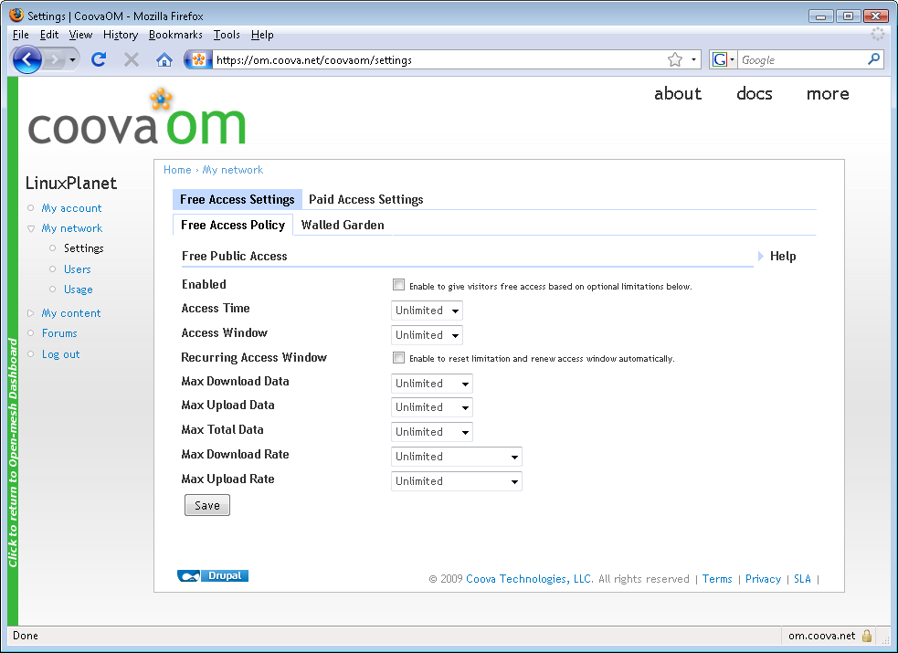 figure 1: CoovaOM settings page