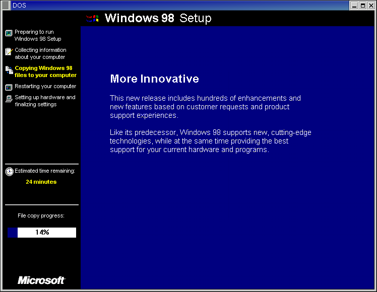 Figure 2. The Windows 98 installation program in a GNOME Window in Red Hat 7.3.