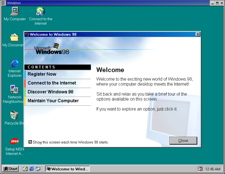 Figure 3. Windows 98 in Red Hat 7.3 and GNOME, using Win4Lin.