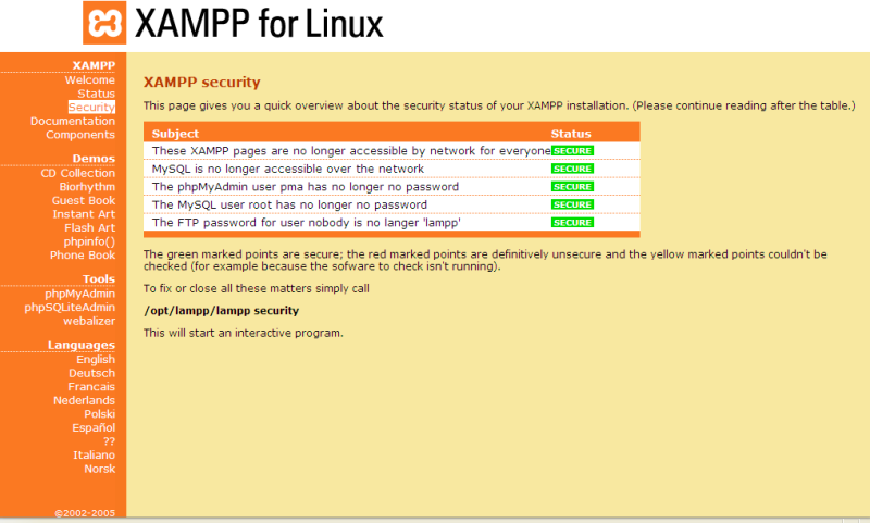 Figure 2: XAMPP Security