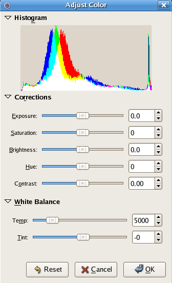 Figure 8: F-Spot's Adjust Color dialog box.