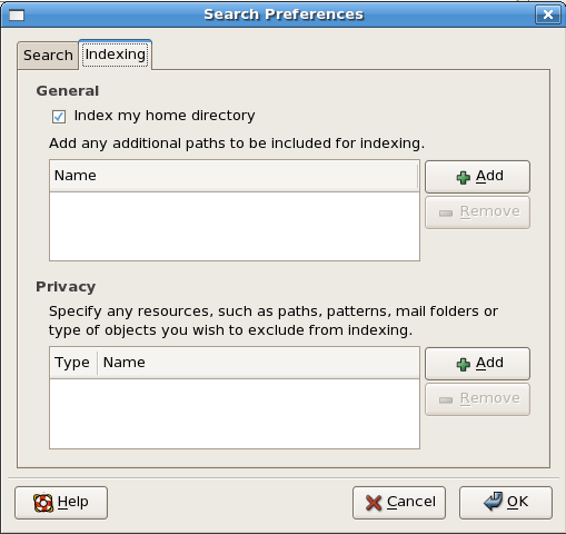 Figure 2: The Beagle search tool's Search Preferences dialog box, Indexing tab selected.
