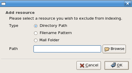 Figure 3: The Beagle search tool's Add Resource dialog box.