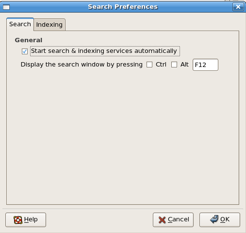Figure 4: The Beagle search tool's Search Preferences dialog box, Search tab.