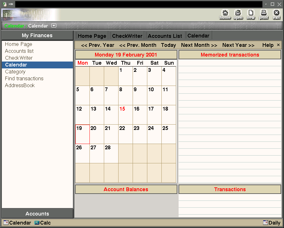 The calendar is one of several places where payments can be scheduled.