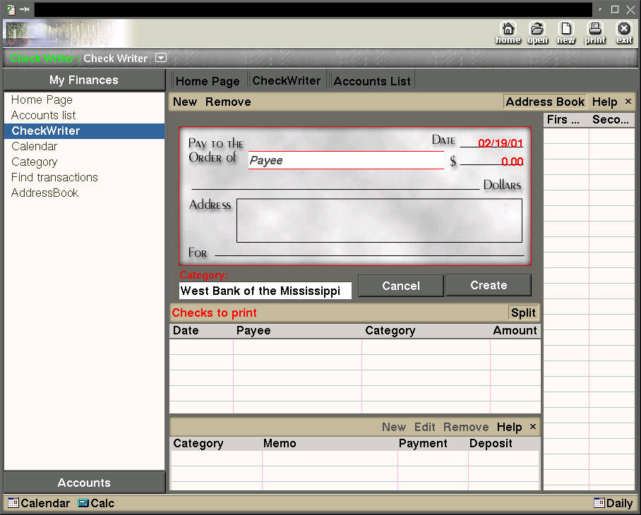 The check printing function in Kapital. The calendar and calculator are available anywhere in the application.