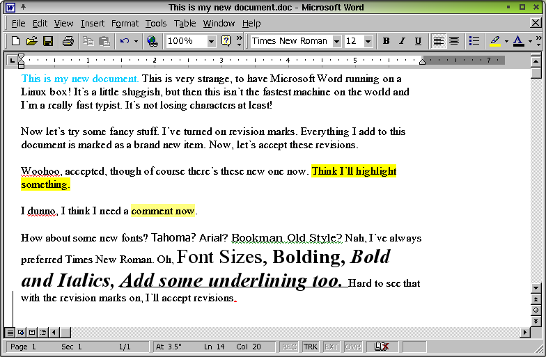 Figure 10. Microsoft Word 2000 and my crazy new document, in Linux.
