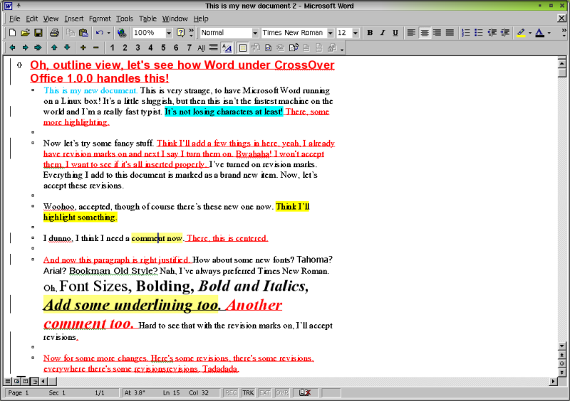Figure 11. Microsoft Word 2000 and my even crazier document, in Linux.