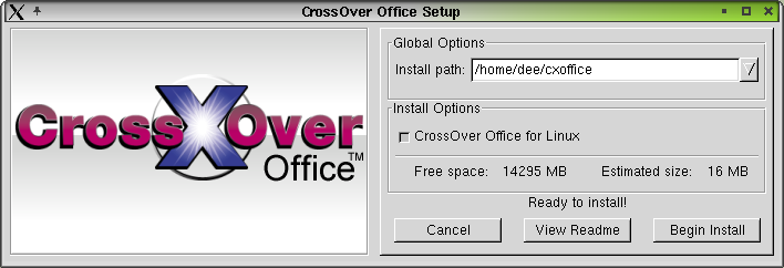 Figure 2. The CrossOver Office 1.0.0 Setup dialog box.