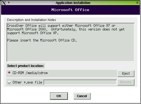 Figure 5. The CrossOver Office 1.0.0 Application Installation dialog box.
