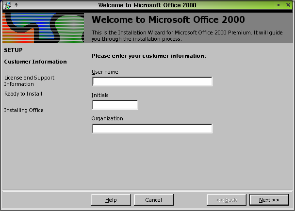 Figure 6. The Microsoft Office 2000 installation opening screen on my SuSE Linux 7.3 setup, in KDE.