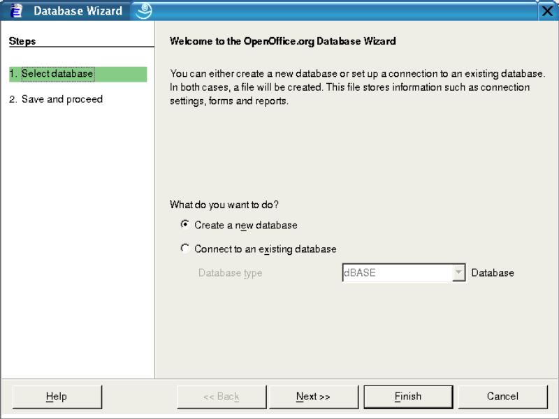 Figure 1: The first create database wizard screen.